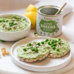 Zdravý recept na hráškový hummus so zelenými superpotravinami Blendea Supergreens
