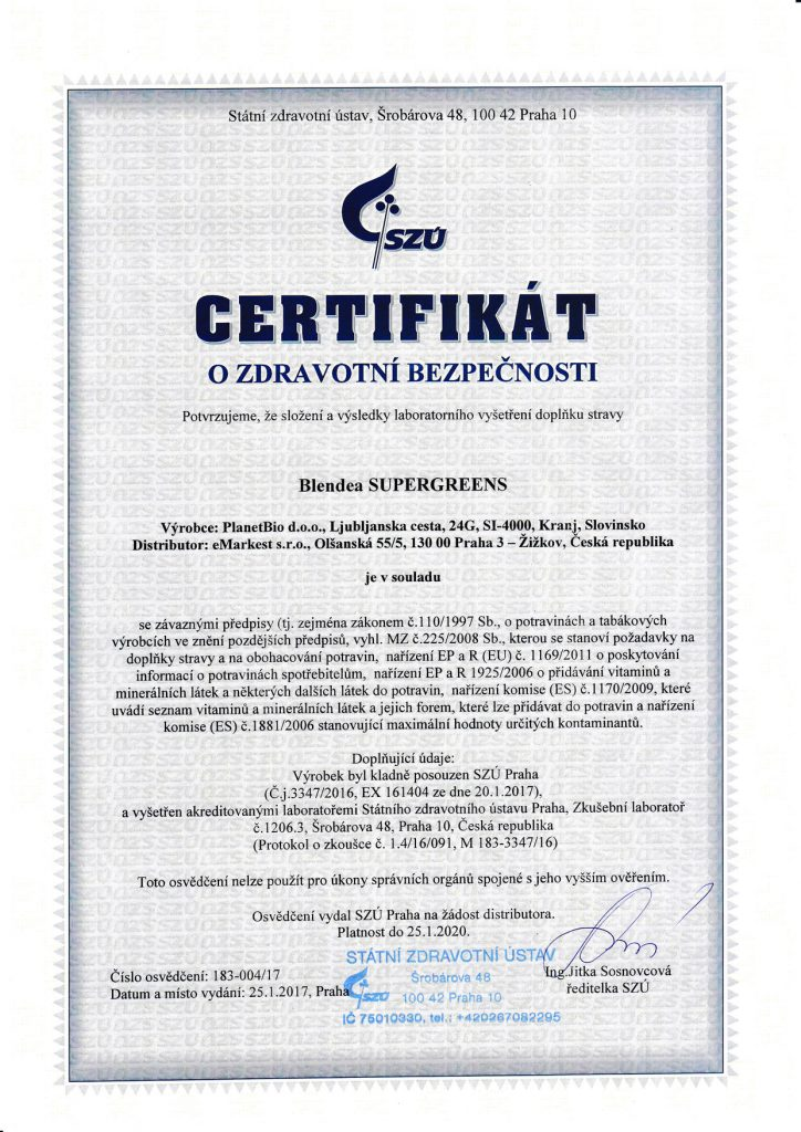 certifikát blendea supergreens